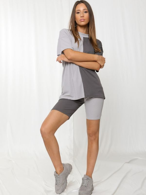 Charlee 50/50 Ribbed Oversized T-Shirt & Shorts Co-ord In Grey
