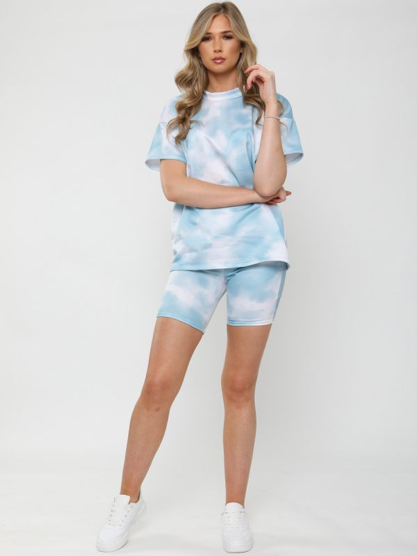 Jude Tie Dye Oversized T-Shirt & Shorts Co-ord In Blue