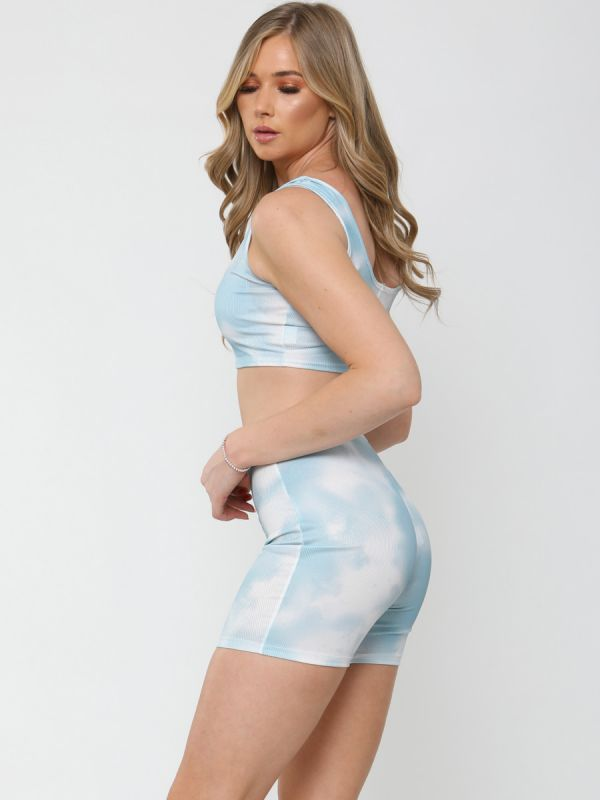 Chaya Tie-Dye Ribbed Bralet & Shorts Co-ord In Blue