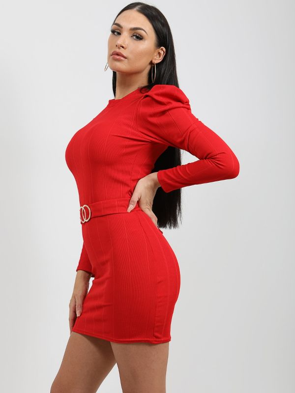 Caris Double Ring Belted Bandage Dress In Red