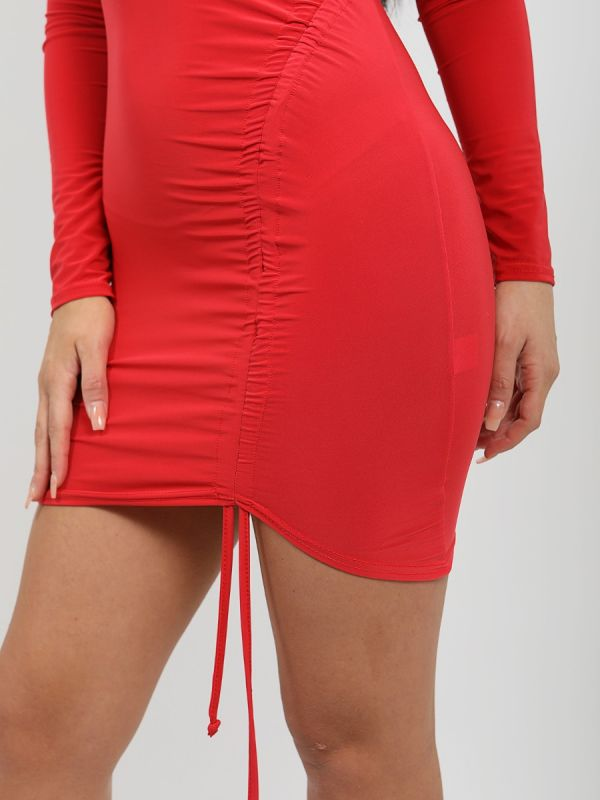 Laia Ruched Drawstring Front Slinky Dress In Red