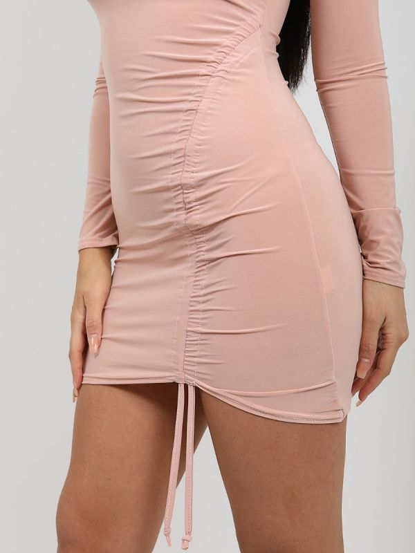 Laia Ruched Drawstring Front Slinky Dress In Rose Gold