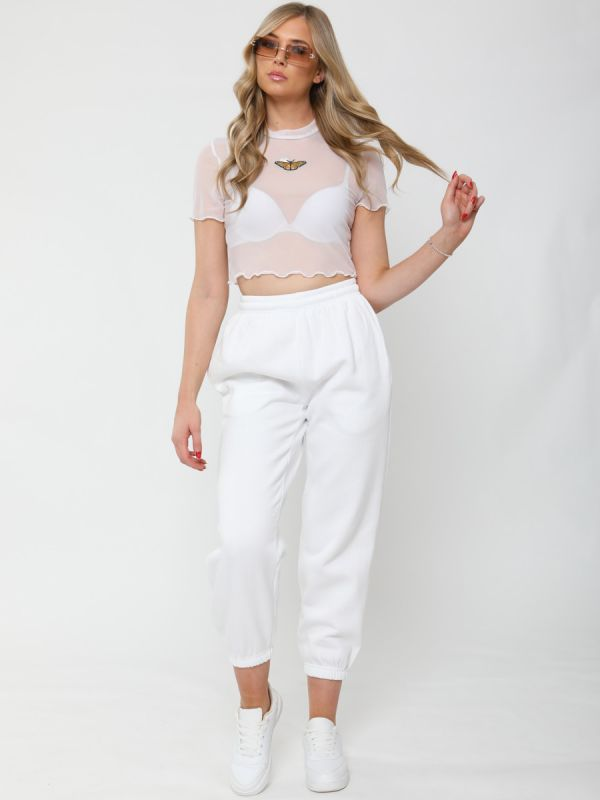 Andrea Butterfly Embroidered Mesh Crop Top In White