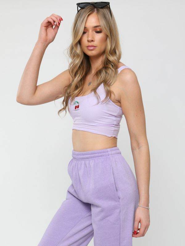 Izzy Embroidered Cherry Rib Crop Top In Lilac