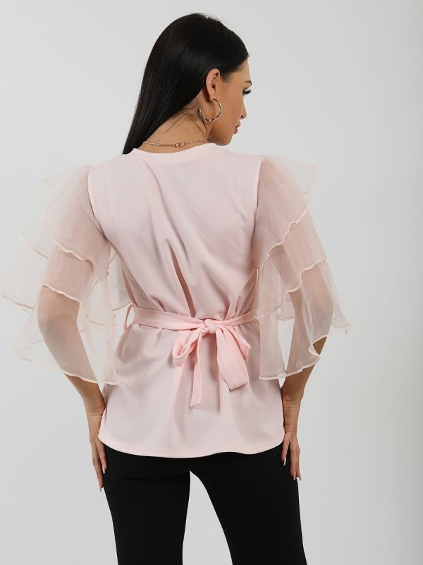 Juliet Frill Organza Sleeve Double Ring Belted Top In Pink