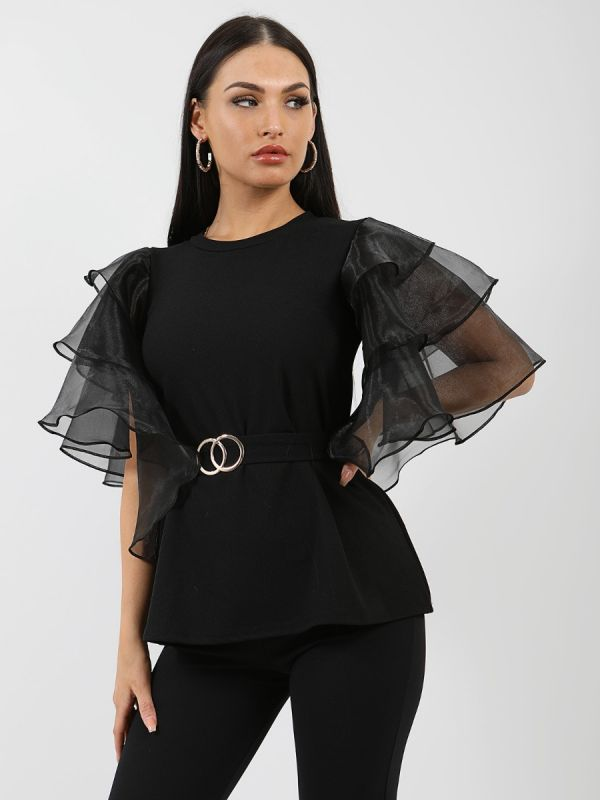 Juliet Frill Organza Sleeve Double Ring Belted Top In Black