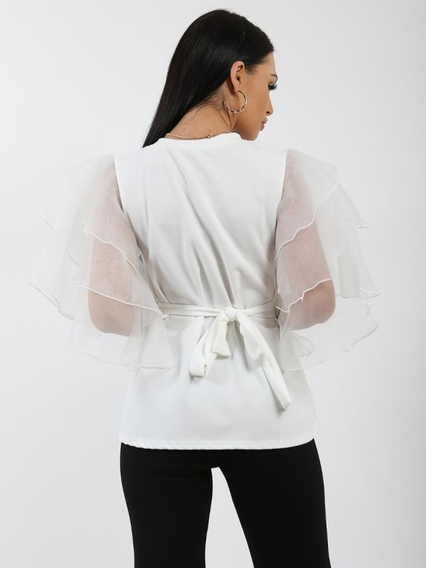 Juliet Frill Organza Sleeve Double Ring Belted Top In Cream