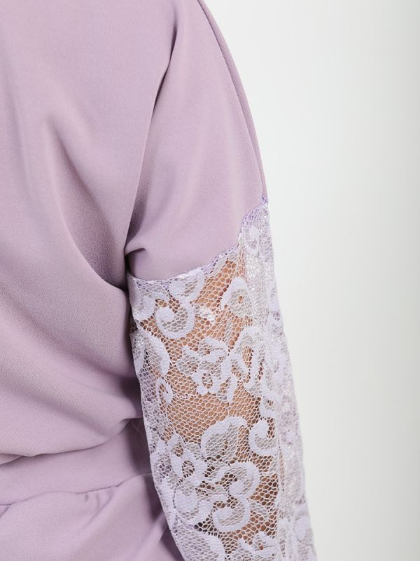 Amy Floral Lace Sleeve & Panel Detail Co-ord In Lilac