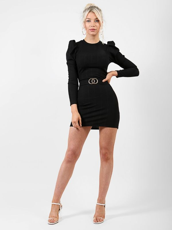 Caris Double Ring Belted Bandage Dress In Black