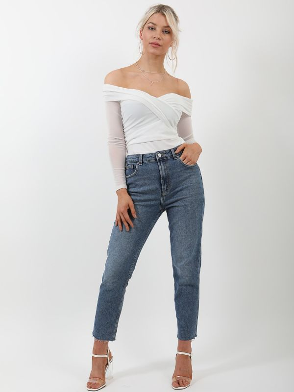 Candice Off Shoulder Mesh Lined Bodysuit In Cream