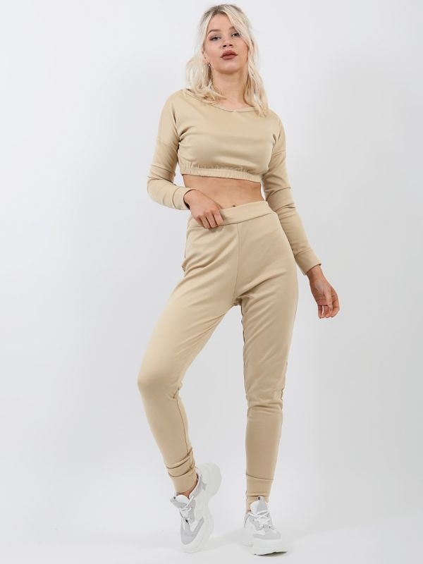 Dana Off Shoulder Crop Top & Trouser Co-ord In Stone