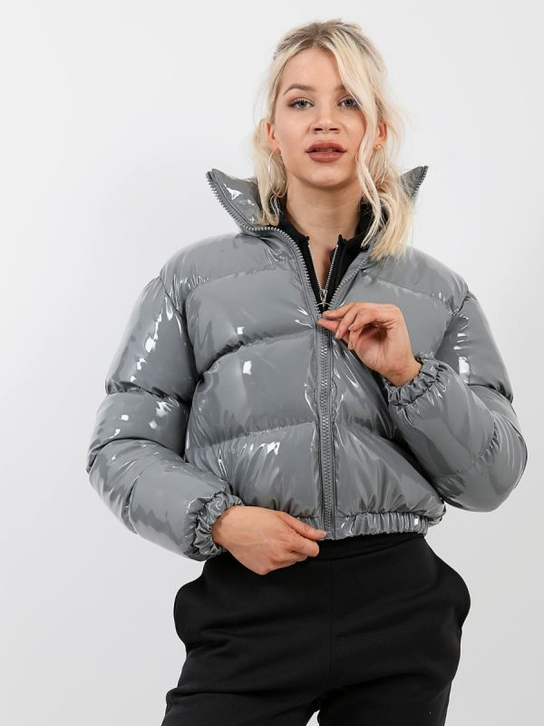 Emilia PVC Leather Cropped Puffer Jacket In Grey