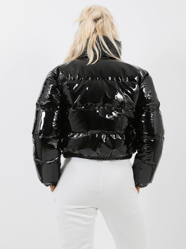 Emilia PVC Leather Cropped Puffer Jacket In Black
