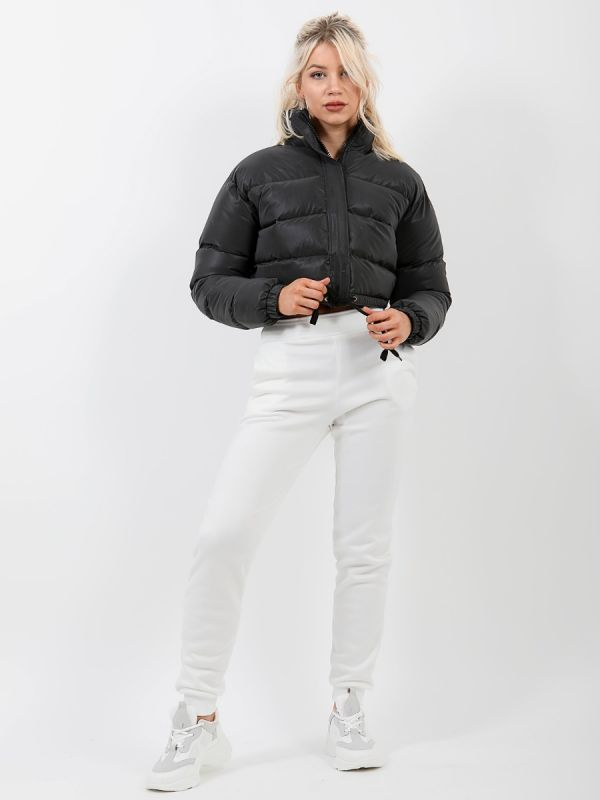 Kara Reflective Cropped Padded Puffer Jacket In Black