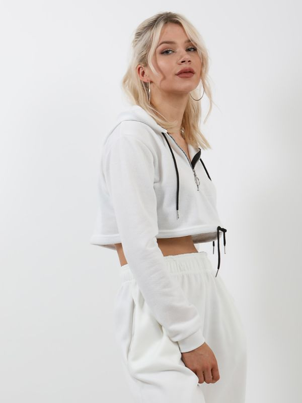 Thalia Zip Up Cropped Hoodie In White