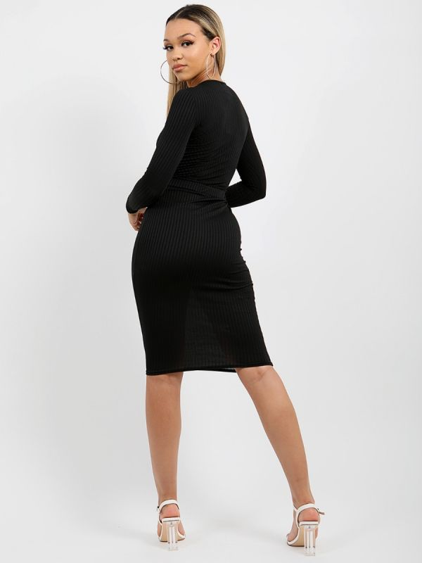 Anelia Cut Out Knot Front Ribbed Dress In Black