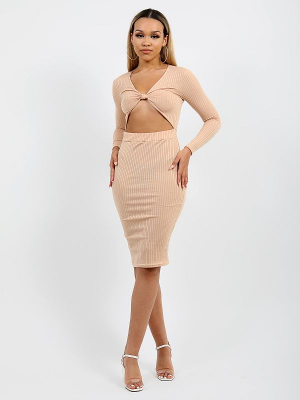 Anelia Cut Out Knot Front Ribbed Dress In Stone