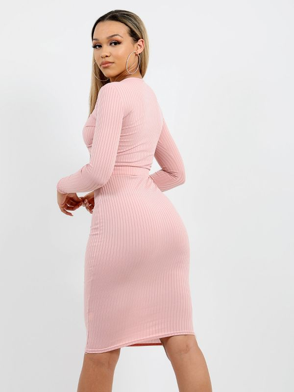 Anelia Cut Out Knot Front Ribbed Dress In Rose Gold
