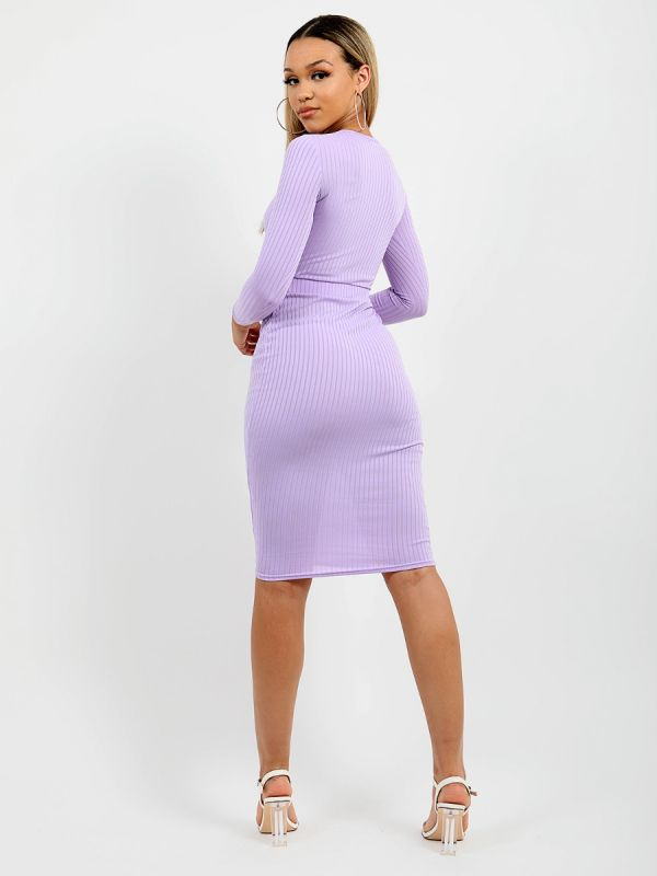 Anelia Cut Out Knot Front Ribbed Dress In Lilac