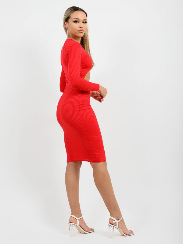 Anelia Cut Out Knot Front Ribbed Dress In Red