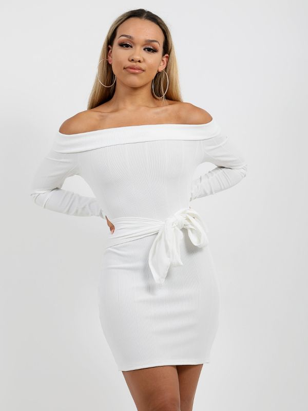 Matilda Ribbed Tie Knot Belted Bardot Dress In Cream