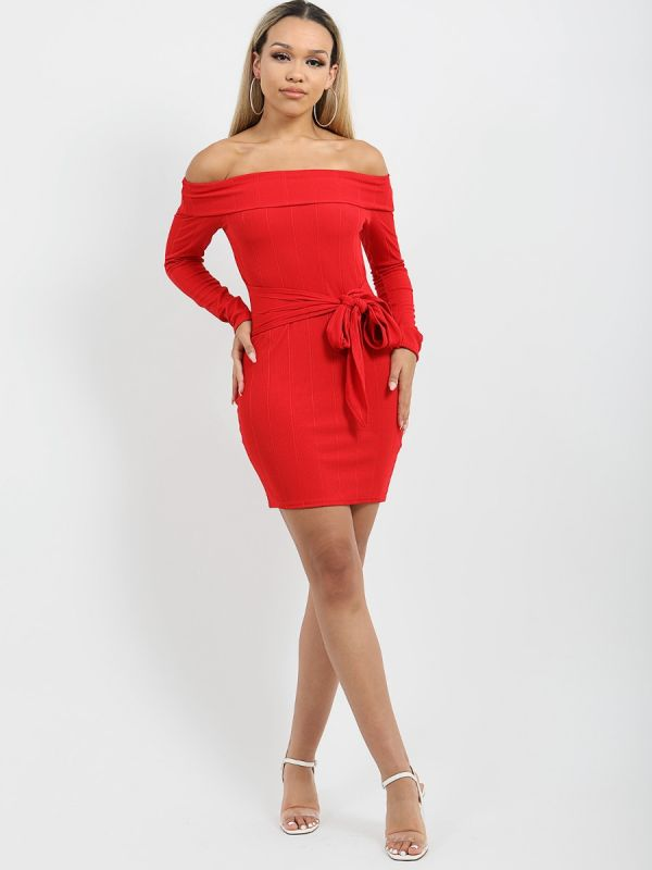 Matilda Ribbed Tie Knot Belted Bardot Dress In Red