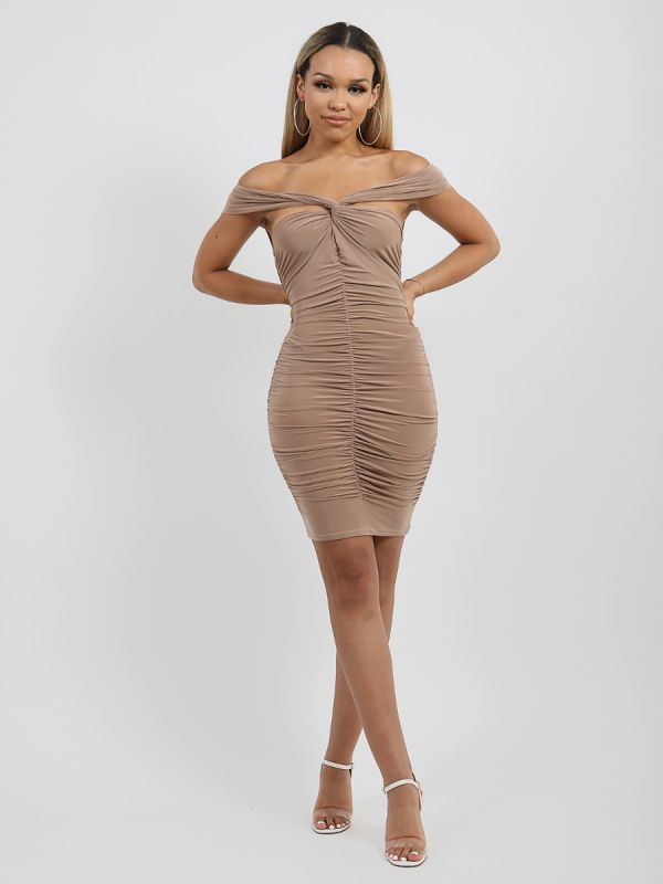Camilla Slinky Ruched Cross Front Bardot Dress In Beige