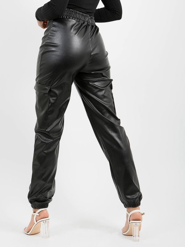 Madelyn PU Cargo Trousers In Black
