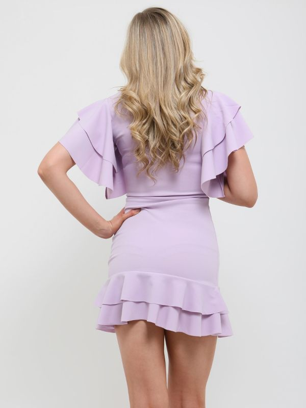 Mirren Double Ring Wrap Front Frill Dress In Lilac