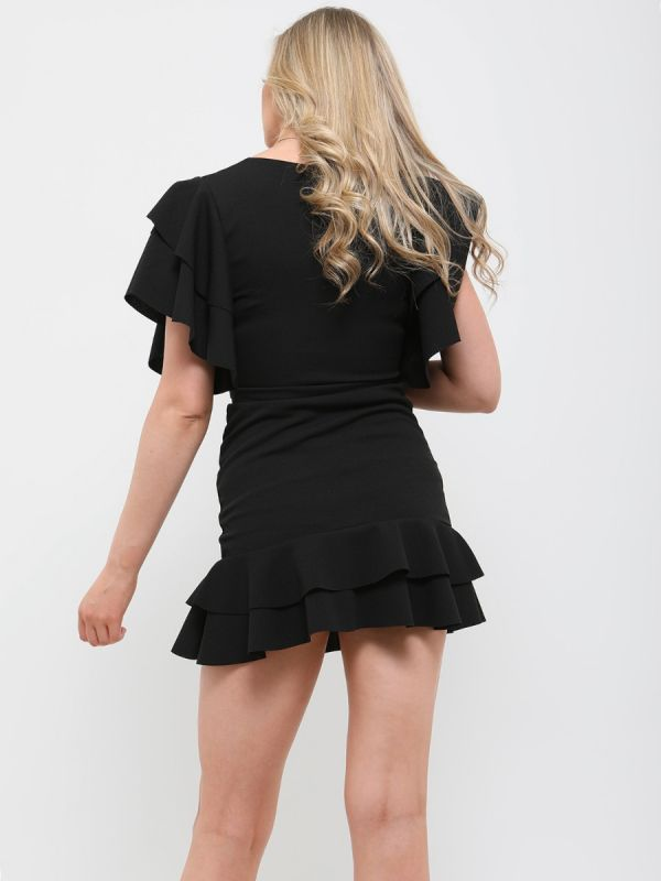 Mirren Double Ring Wrap Front Frill Dress In Black