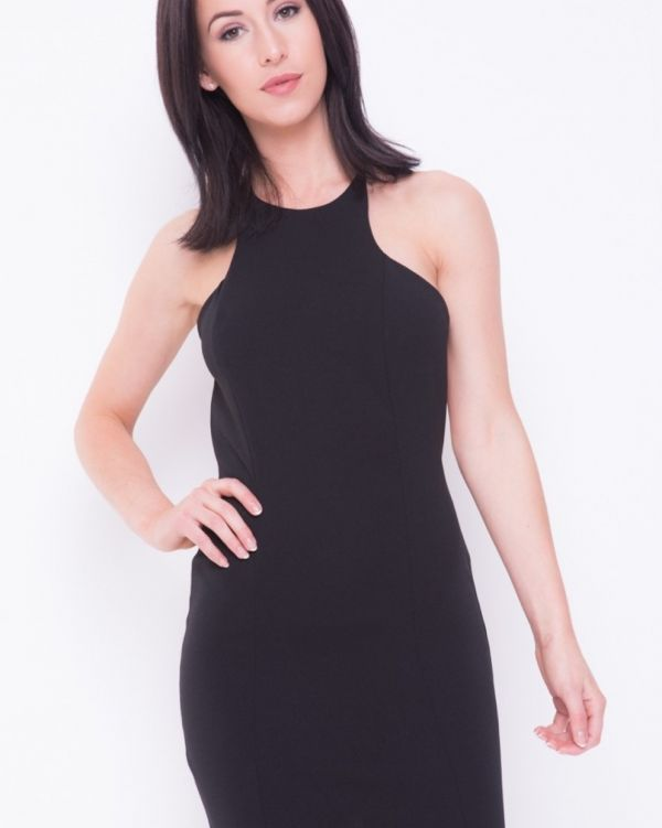 Jimena Open Bow Back Mini Dress In Black