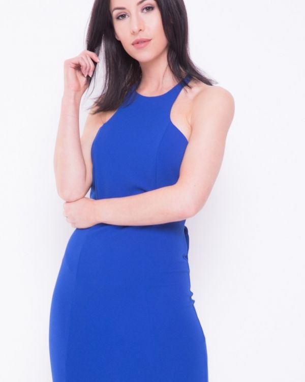 Jimena Open Bow Back Mini Dress In Royal Blue