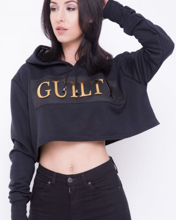 Leia 'GUILTY' Oversized Cropped Hoodie In Black