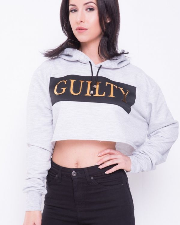 Leia 'GUILTY' Oversized Cropped Hoodie In Grey