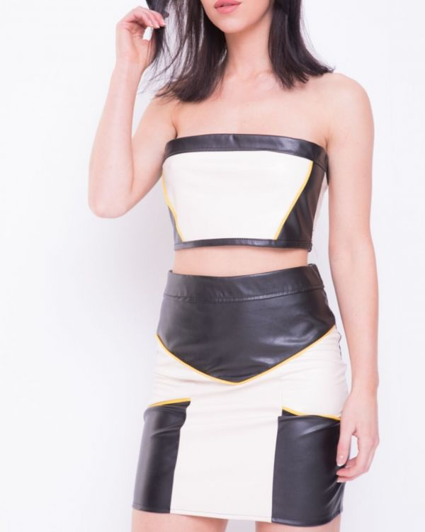 Hadley Contrast Colour Block PU Co-ord In Cream