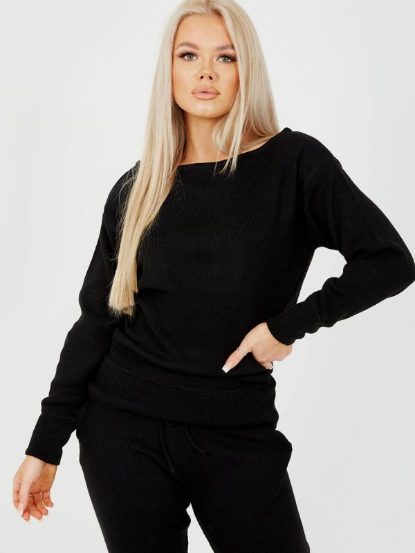 Adriana Scoop Neck Knitted Lounge Co-ord In Black