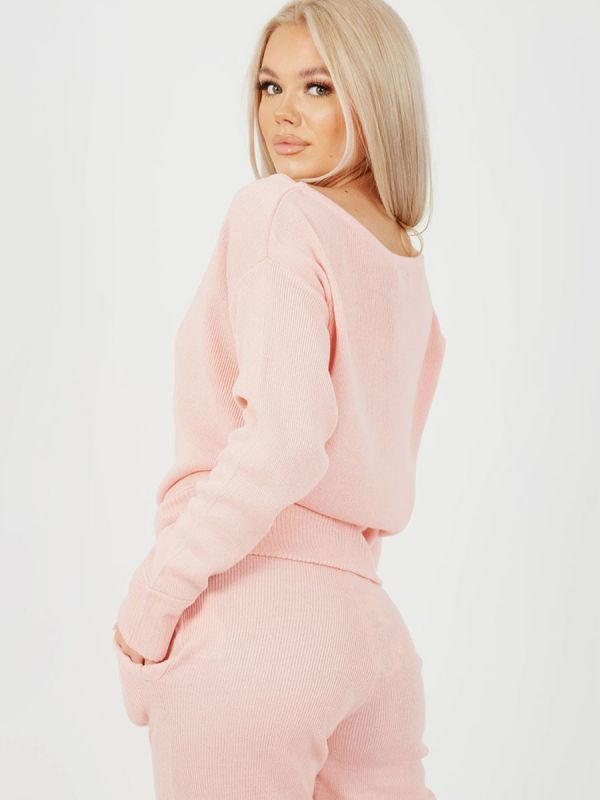 Adriana Scoop Neck Knitted Lounge Co-ord In Pink