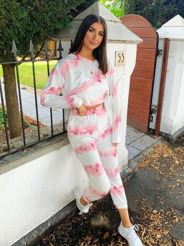 Mariam Tie Dye Top & Jogger Co-ord In Pink