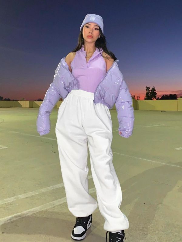 Emilia PVC Leather Cropped Puffer Jacket In Lilac