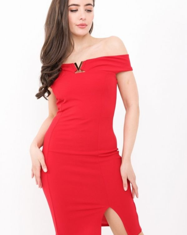 Ryleigh V-Bardot Bodycon Dress In Red