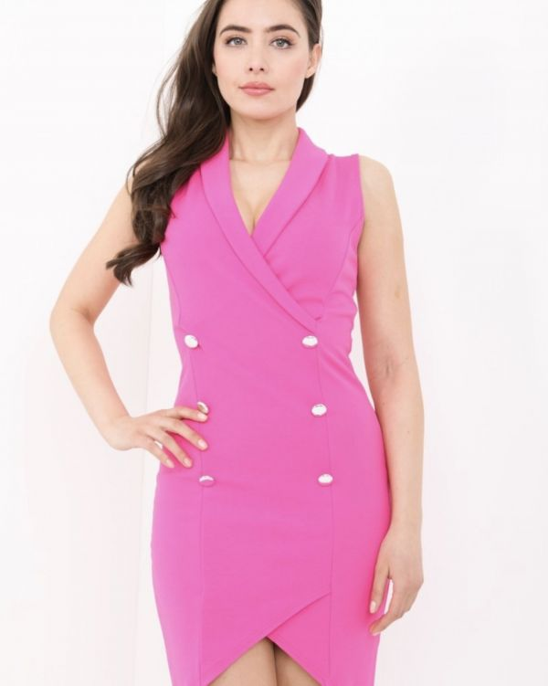 Piper Tuxedo Style Bodycon Dress In Pink