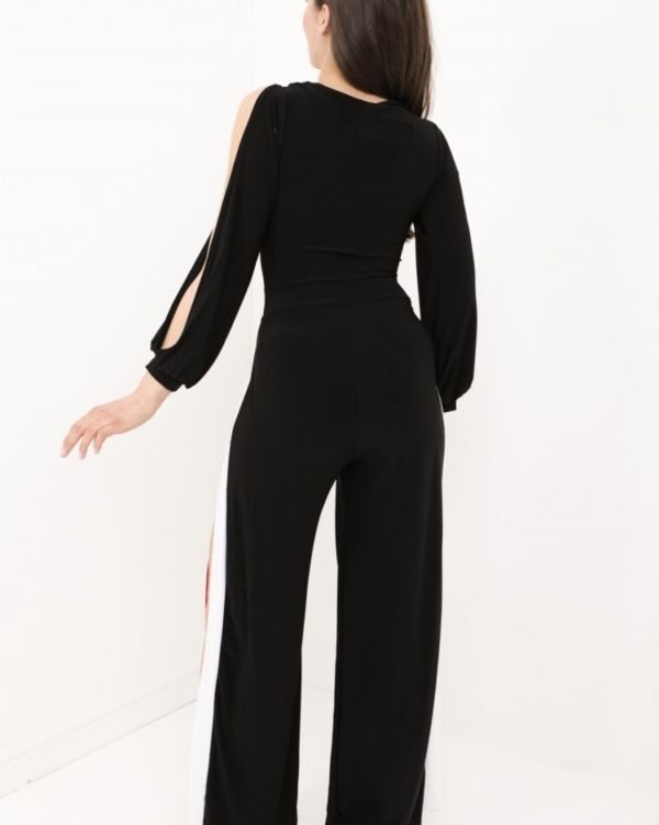 Rosalie Contrast Split Jumpsuit In Black & Red