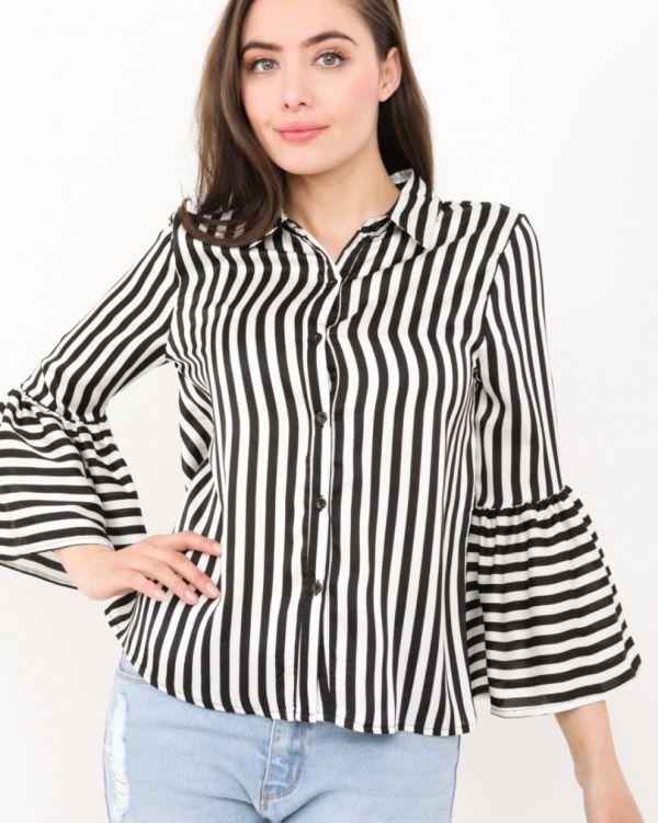 Emersyn Bell Sleeve Satin Blouse Is Monochrome Black & White