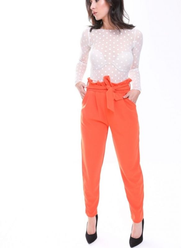 Amanna Paper Bag Style Trousers In Orange