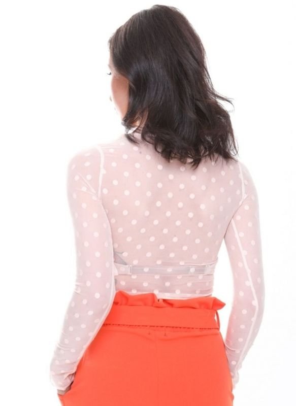 Reagan Polka Dot Sheer Mesh Top In Nude