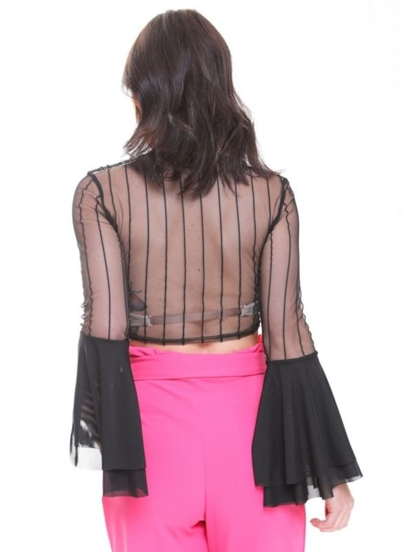 Delilah Striped Sheer Crop Top With Flare Sleeves In Black