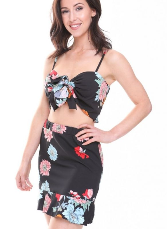 Athena Floral Print Tie Knot Bralet And Skirt Co-ord In Black