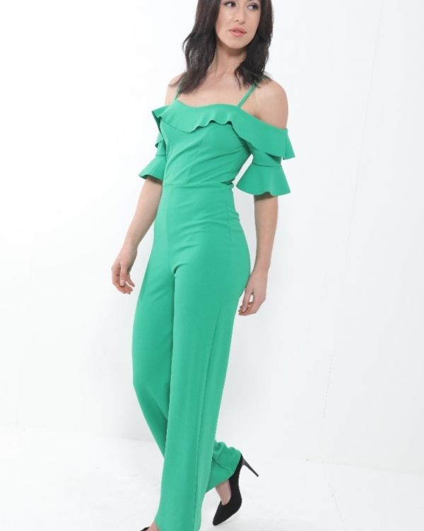Nevea Frill Bardot Cami Jumpsuit In Green