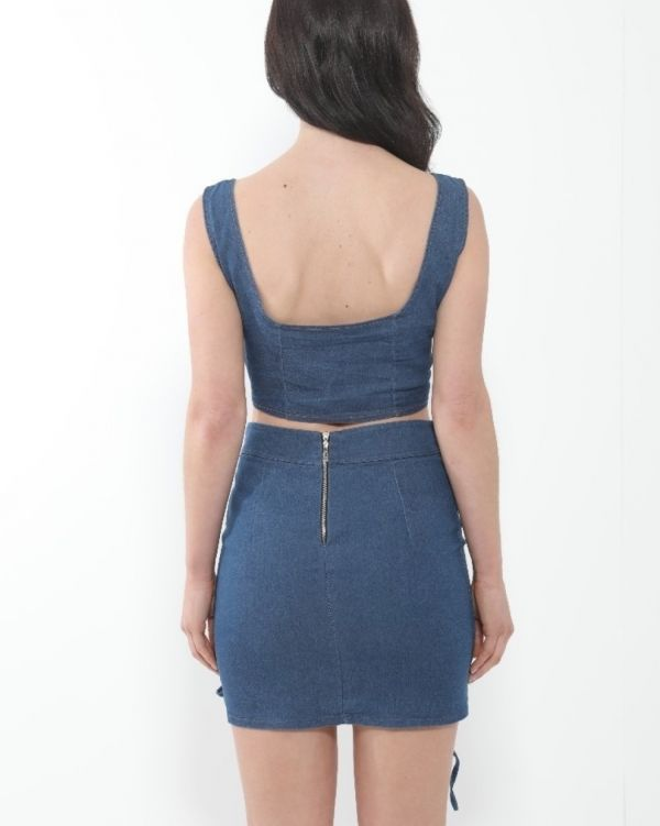 Penelope Lace Up Eyelet Set In Denim Blue