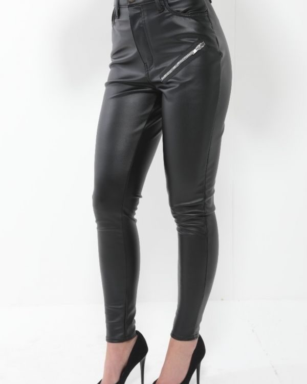 **Kady McDermott** Sofia PU Zip Trousers In Black